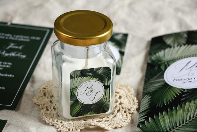 prezent dla gości weselnych świeczka zapachowa